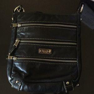 Tignanello Black Leather 3-Zipper Crossbody Purse